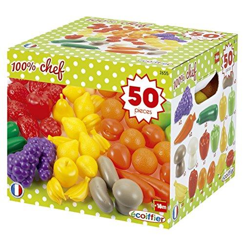Jouets Ecoiffier – 2655 - Pack 50 fruits et légumes – Imitations daliments pour enfants – Dès 18 mois – Fabriqué en France