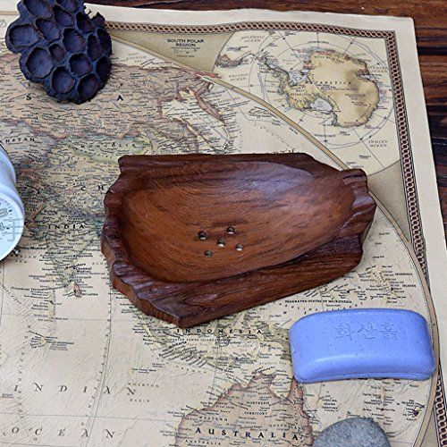 ZHPBHD Handmade Wooden Soap Dish Soap Holder Soap Drag Natural Teak Wood Soap Dish Soap Holder Drainage