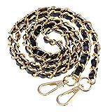 BESTOYARD Borsa a mano in metallo catena borsa a tracolla tracolla tracolla accessori di ricambio con fibbie (oro nero)