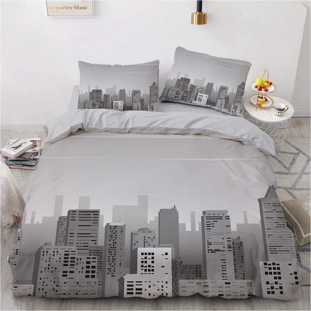 Duvet Cover Queen Size Bombing free shipping Ranking TOP2 Grey Bedding Comf Comfy Durable Building