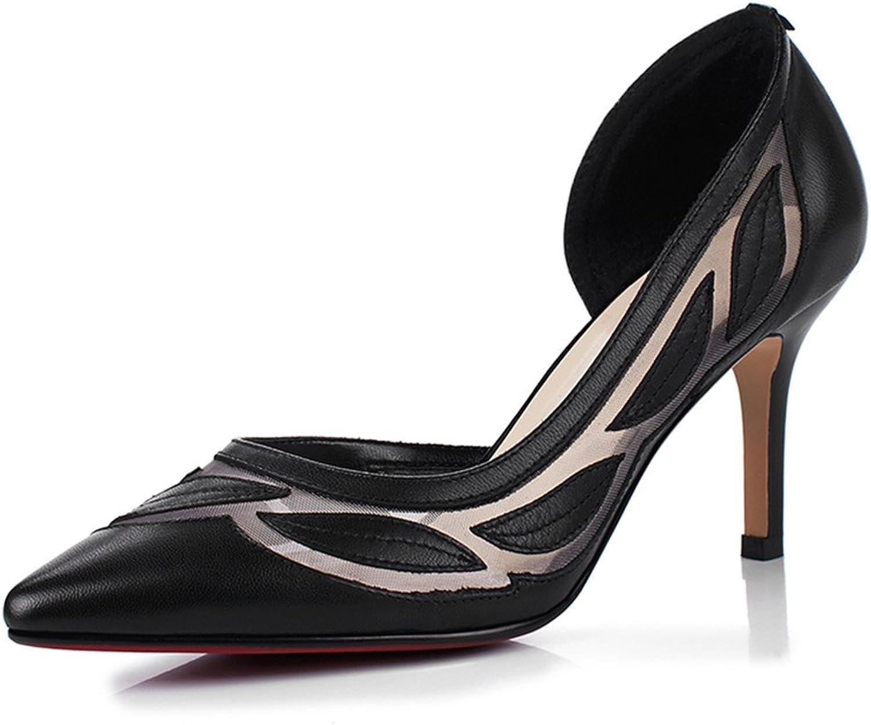 Nine Seven Genuine Leather Women's Pointed Toe Stiletto Heel Comfort Handmade Sexy D'orsay Dress Pumps