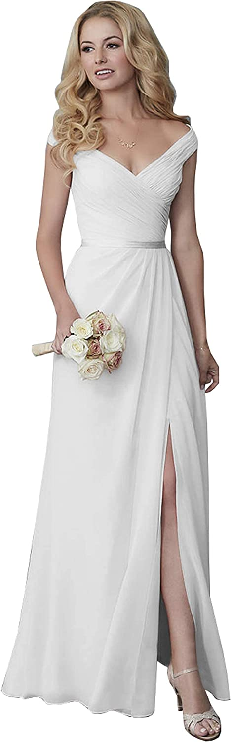 Unions Off The Shoulder Long Bridesmaid Dress Chiffon Wedding Formal Evening Gowns with Slit