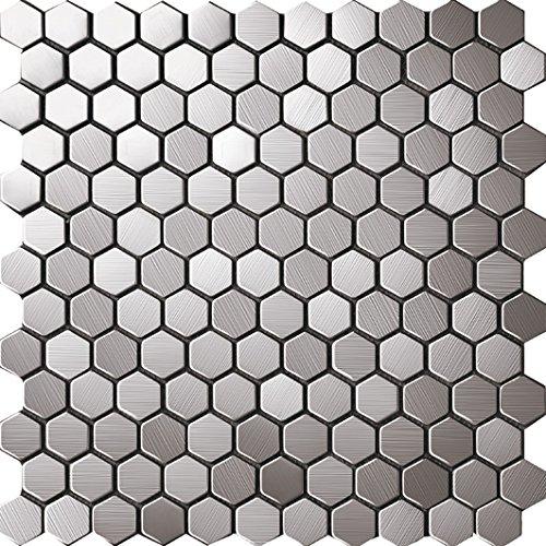 HEXAGON Art Deco metallo mosaico acciaio inossidabile Mosaico muro300*300mm--Cucina Backsplash/Parete da bagno/decorazione domestica(hexagon) (1 tappetini (300*300mm), SA016-3)