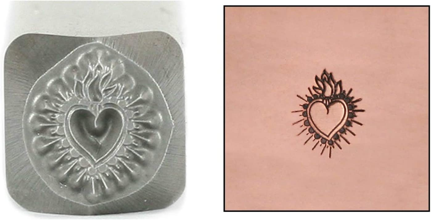 Today's only Sacred Heart Metal Design Stamp 7mm Sta 4 years warranty Punch Love Fire Flaming