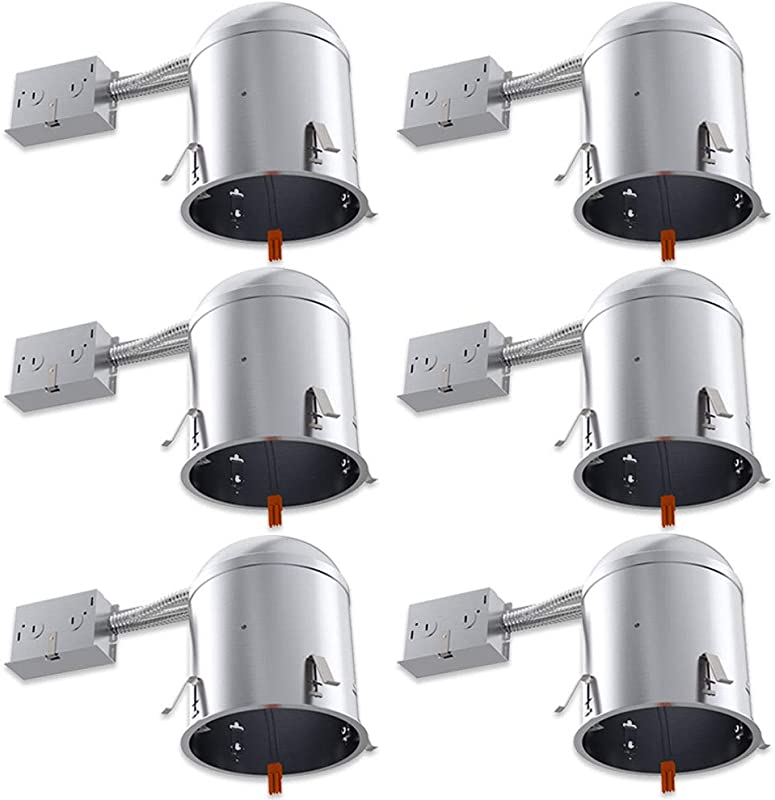 Sunco Lighting 6 Pack 6 Inch Remodel Housing Air Tight IC Rated Aluminum Can 120 277V TP24 Connector Included For Easy Install UL Title 24 Compliant