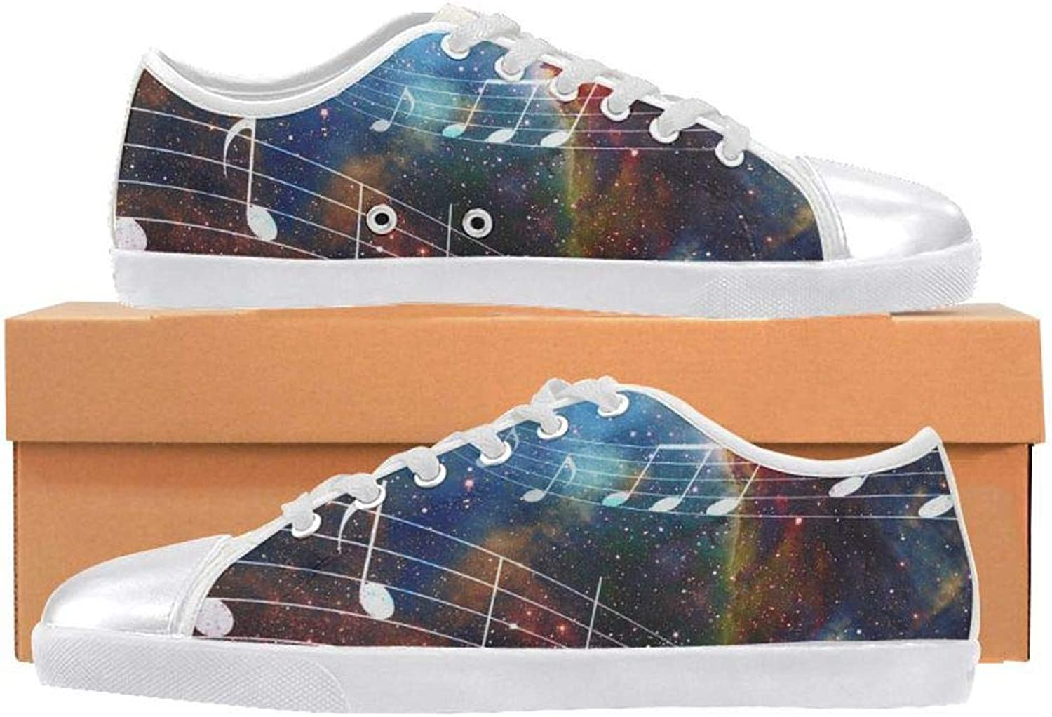 InterestPrint Music Note and Space and Stars Lace-Up Canvas shoes for Women Girls