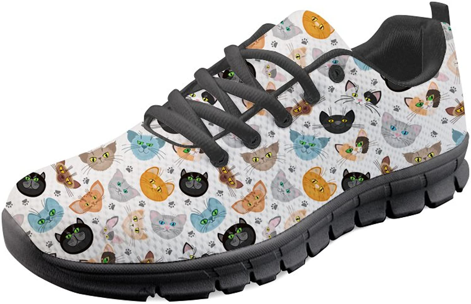 INSTANTARTS Cartoon Kitten Print Women Jogger Running shoes Casual Sneaker Flat