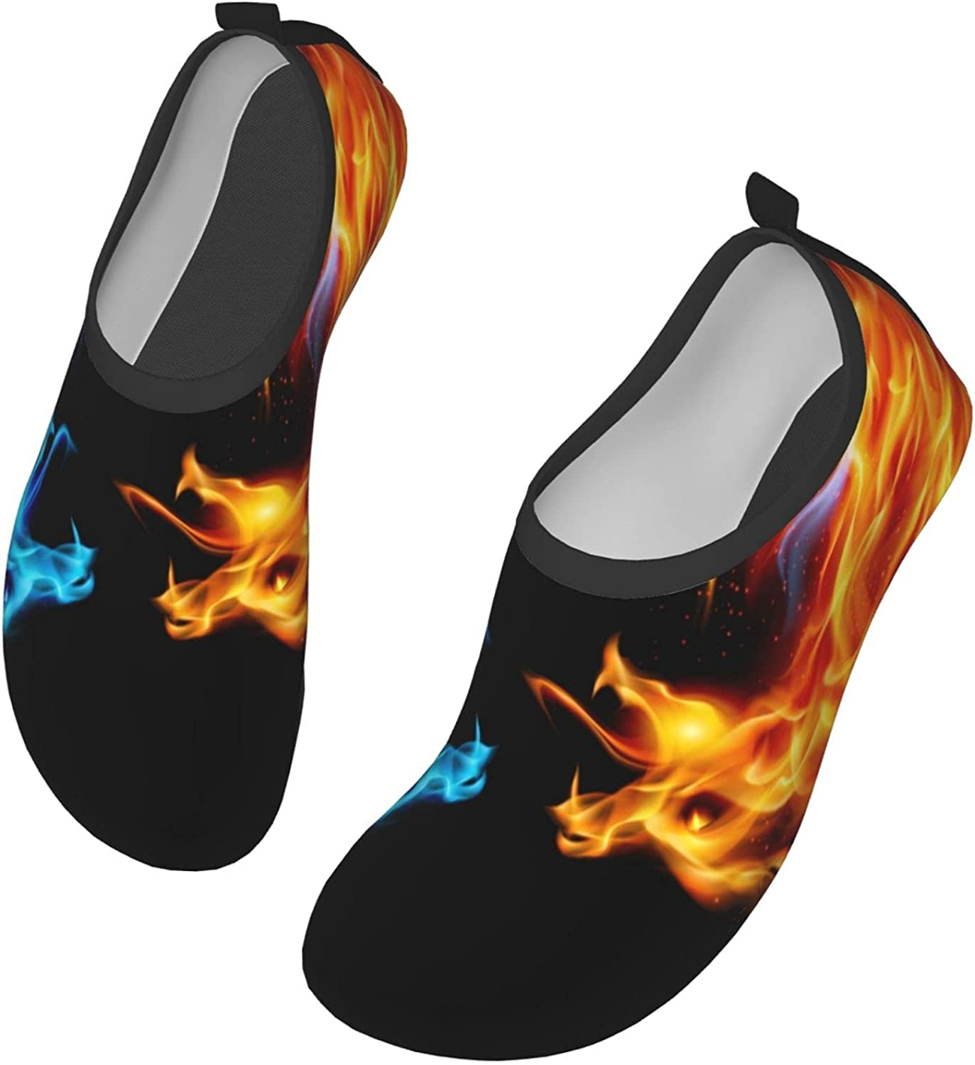 Water Shoes for Womens Mens,Outdoor Beach Blue Red Fiery Dragons