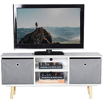 ASUUNY Unidad de TV Blanca, gabinete de TV Moderno, Unidad de TV de Cubo, Consola de Almacenamiento de Soporte de TV con 2 estantes y 2 cajones para Sala de Estar ...