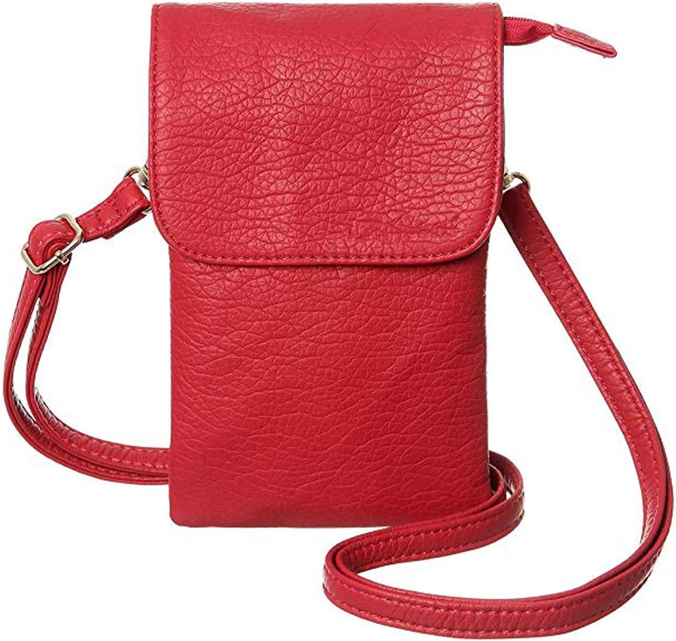 Universal Crossbody Cell Phone Purse Multipurpose Soft PU Leather Wallet Moblie Phone Pouch Shoulder Bag Carrying Cases for Smartphone Under 6.2''or Daily Use from WaitingU (E - Red)