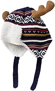 Home Prefer Boys Winter Hats Warm Cotton Knitted Hats with Earflaps