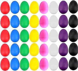 EVNEED - Juego de 40 huevos de plástico para niños con diseño de maracas y 8 colores diferentes para juguetes infantiles o para aprender a hacer manualidades, regalos de Navidad para niños