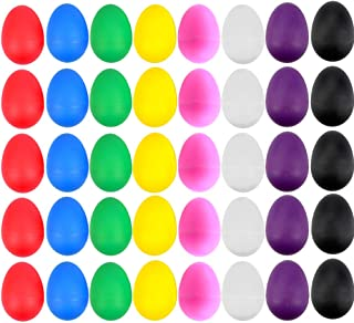 EVNEED 40 Pcs Plastic Egg Shakers Set Percussion Musical Egg Maracas Kids Toys with 8 Different Colors for Child Toys Music Learning DIY Painting