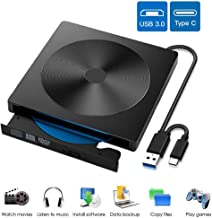 EasyULT Unidad Externa de CD DVD, Portátil Reproductor de Grabadora CD/DVD-RW Lector, con Interfaz Dual USB 3.0 y Tipo C, Compatible con Windows XP / 2003 / Vista / 7/8/10, Linux, Mac OS