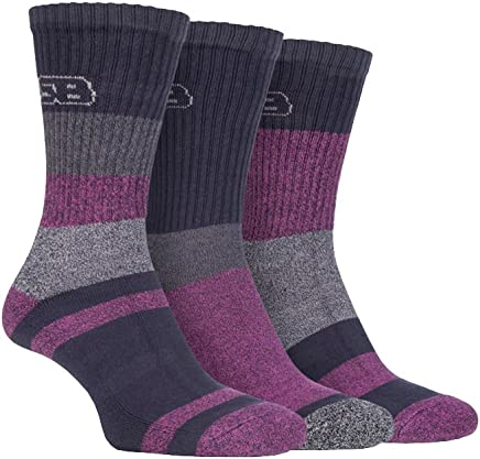 Storm Bloc - 3 Pairs Ladies Anti Blister Lightweight Breathable Cotton Summer Walking Hiking Socks with Padded Sole
