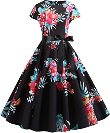 c8949744f31b2 Women's Vintage Dresses 1950s Retro Floral Boatneck Cap Sleeve Swing  Cocktail Party Dress with Belt