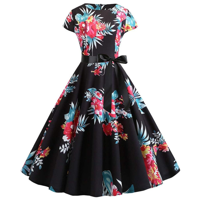 UOKNICE Women Vintage Elegant Sleeveless Print Evening Party Prom Swing Dress