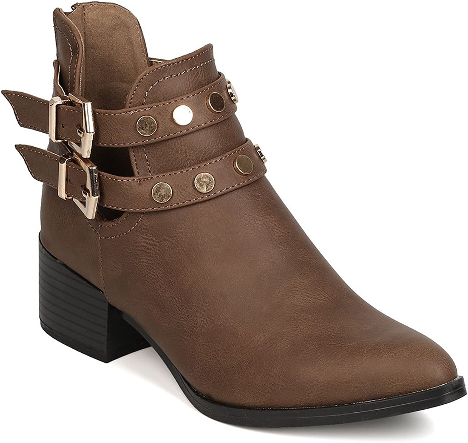 Qupid FC39 Leatherette Pointy Toe Studded Double Buckle Chunky Heel Cut Out Bootie FC89 - Taupe