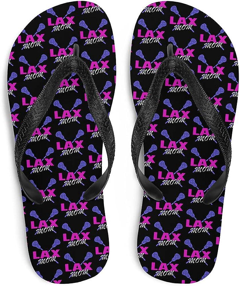 Lacrosse Flip-Flops - Lacrosse LAX Mom (Black) - Gift for Moms (See Description for Size Chart)