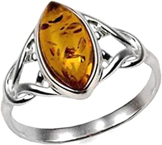 Ian and Valeri Co. Amber Sterling Silver Celtic Small Thin Marquise Shape Ring