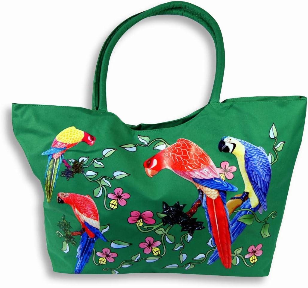 Beach Bag Parrot Tote Bag Art Tote Bag Book Bag Shopping Bag Unique Tote Bag Gift Bird Market Bag Reusable Tote Travel Bag