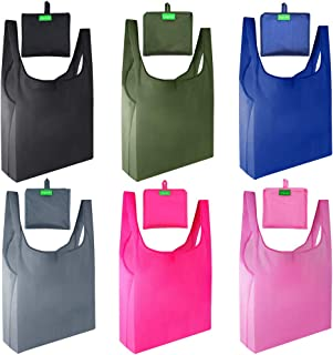 Gogooda Reusable Grocery Bags 6 Pack,Heavy Duty Shopping Bags Large 50LBS with Foldable, Ripstop Grocery Tote bags with Eco-Friendly Polyester Fabric (Navy Blue,Moss, Pink, Rose, Black, Gray)
