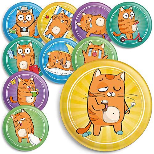 Witzige Katzen Magnete für den Kühlschrank, Magnettafel oder Whiteboard. 38mm Durchmesser, Matte Beschichtung