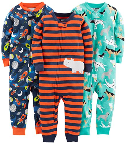 Simple Joys by Carter's – Conjunto de 3 Pijama de algodón, Dogs/Space/Rhino, 5T