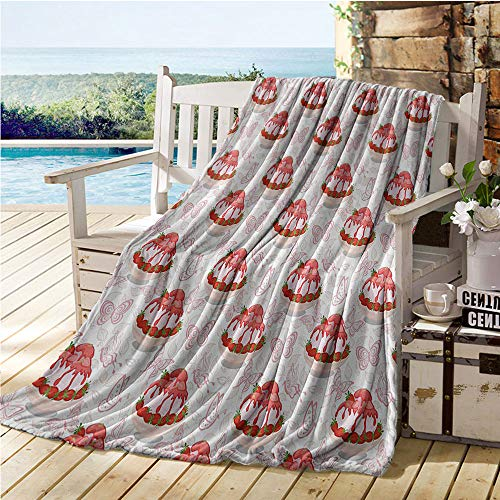 Jecycleus Pink, Weave Pattern Extra Long Blanket, Sweet Dessert Pattern Ice Cream with Strawberry Sauce in Bowl and Butterflies, Lightweight Blanket Extra Big 90x70 Inch Pink White and Red