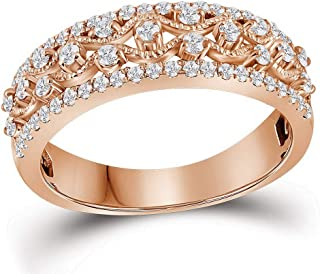 74796e414 10k Rose Gold Fancy Diamond Wedding Band Milgrain Woven Ring Rope Design Half  Eternity Fashion .