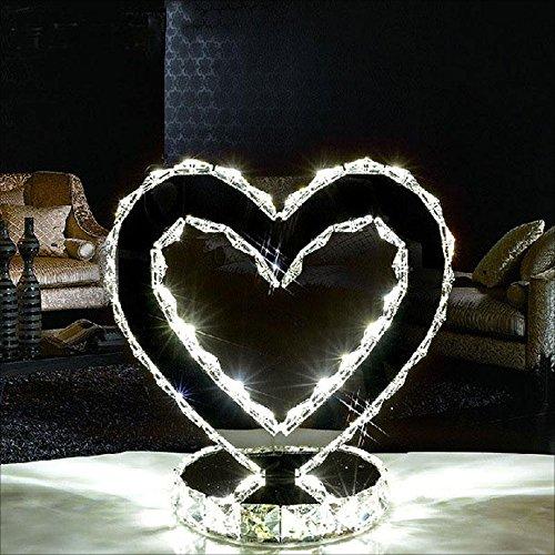 LED Crystal Heart Type Lampe Love Table Lamp Bedroom Table De Chevet Room Study Lampes En Acier Inoxydable Modern Minimalist Fashion Lighting (Couleur : White Light (L))