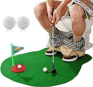 HuoBi Toilet Golf ,Potty Golf Drinker Toilet Toy Potty Putter Putting Golfing Game Indoor Practice Mini Golf Gift Set Golf Training Accessory for Men