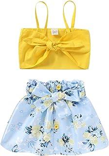 Toddler Baby Girls Summer Clothes Set Halter Vest Crop Tops +Floral Ruffle Flower Pattern Skirt Dress 2Pcs Sunflower Outfits