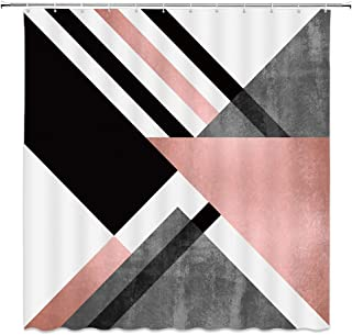 AMFD Geometric Shower Curtain Abstract Triangle Stripe Pattern Fashion Pink White Gray Marble Bathroom Curtains Decor Polyester Fabric Waterproof 70 X 70 Inches Include Hooks