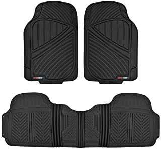 FlexTough Baseline, Heavy Duty Rubber Floor Mats 3pc Front & Rear for Car SUV Truck Van, 100% Odorless BPA-Free & All Weather Protection