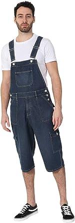 Wash Clothing Company Mens Cargo Pocket Denim Dungaree Shorts - Midwash Short Bib Overalls BLAKECARGOMW-42W