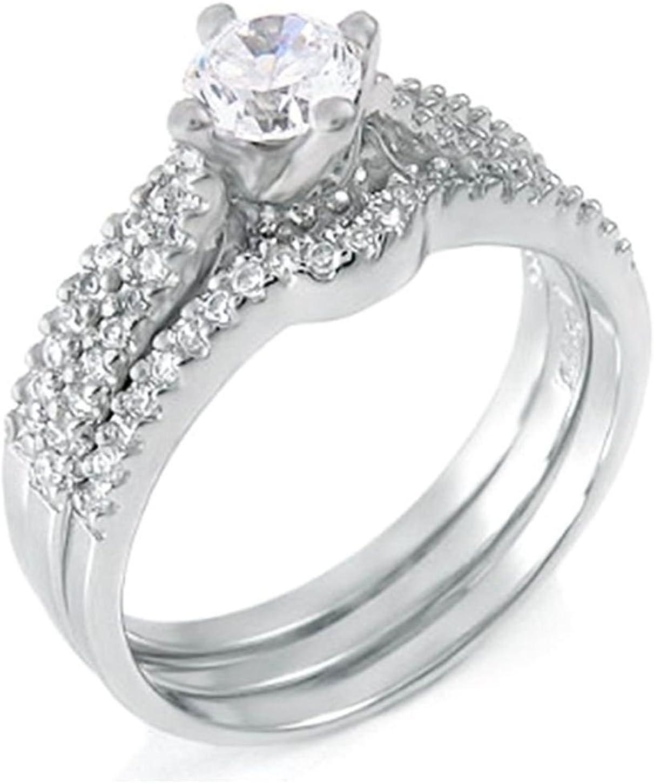 shopping 925 Silver .50 ct 3 Wedding Japan's largest assortment Set designer piece ring