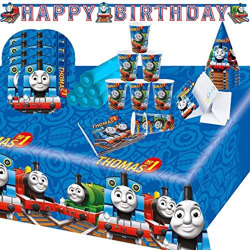 Krause und Sohn Party-Set Kindergeburtstag viele Teile Geschirr Geburtstag Dekoration Geburtstagstisch (Thomas und Seine Fre&e)