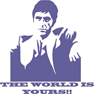 BellaCross Scarface The World is Yours Wall Decal is a Vinyl Wall Decal Displaying a Picture of Al Pacino in his Role as Scarface. - Purple