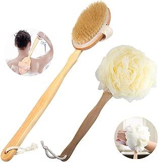 Body Brush - Brush Bath for Wet or Dry Brushing 100% Natural Bristle Detachable Handle Promote Lymphatic Draining Stimulate Blood Flow Skincare Cellulite Treatment & Exfoliator Brush