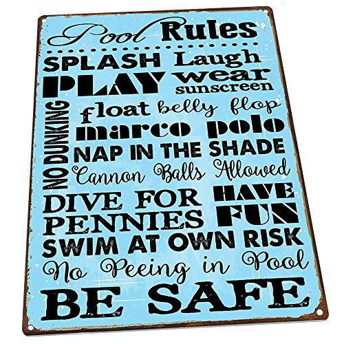 HBA Pool Rules Metal Sign, Motivational Rules, Swimming Pool Sign, Positive Thinking, Modern Decor