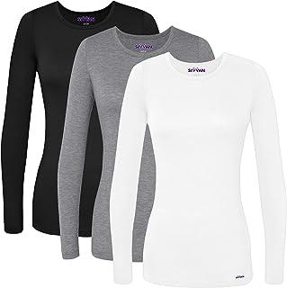 3 Pack Women's Comfort Long Sleeve T-Shirt/Underscrub Tee
