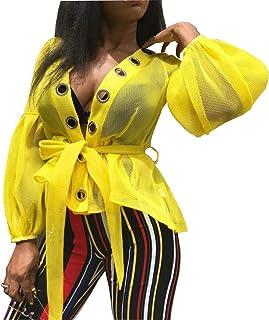VERWIN Fashion Plain Lace-Up Lantern Sleeve Long Sleeve Women's Blouse Women's Top Shirt