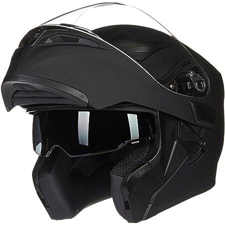 ILM Motorcycle Dual Visor Flip up Modular Full Face Helmet DOT 6 Colors (XL, Matte Black)