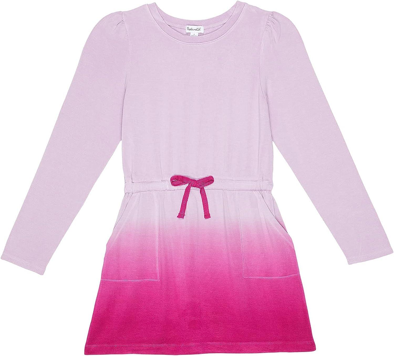 Splendid Girl's Dip-Dye Super Soft Long Sleeve Dress (Toddler/Little Kids) Winter Iris 6 (Little Kids)