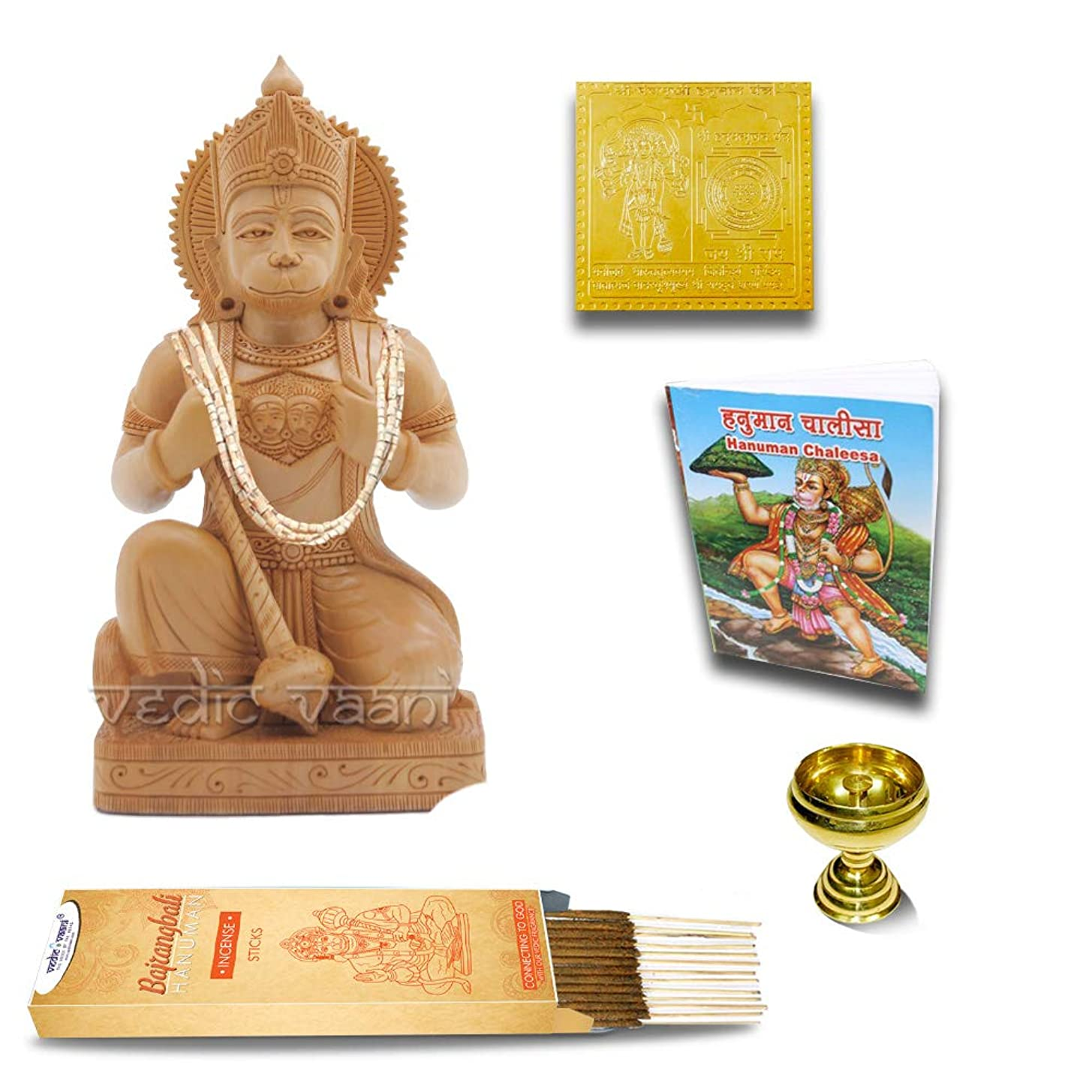 永遠の毎回自然Vedic Vaani Ram Bhakat Hanuman 木製像 ヤントラ チャリサ ディヤ お香スティック付き 100gm