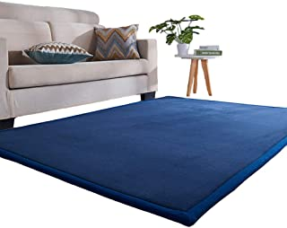 Prula Baby Crawling Mat Washable Soft Thick Carpet for Children Bedroom Blue Rainbow Horse Game Mat
