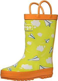 hibigo Children's Natural Rubber Rain Boots with Handles Easy for Little Kids & Toddler Boys, Pattern