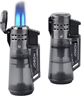 2 Pack Jet Torch Cigar Lighter, New Triple Flame Cigarette Lighter with Butane Refillable and Visible Gas Tank Window