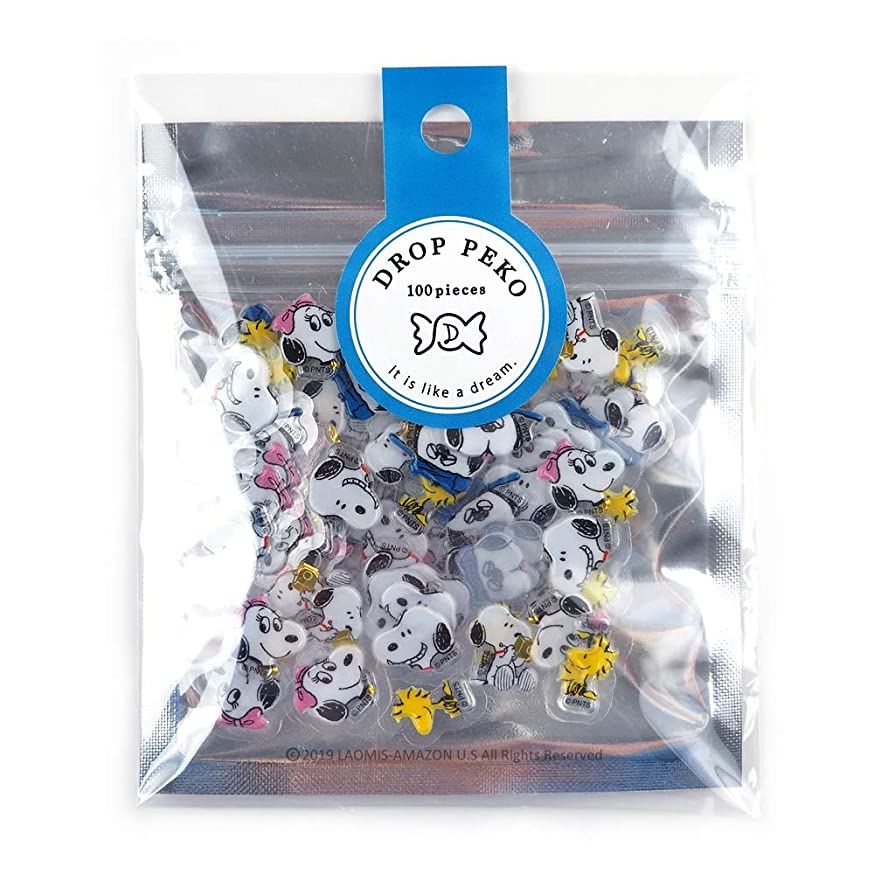 Japanese Snoopy Sanrio Drop Peko Foil Stamping Mini Stickers/Pack of 100 (Snoopy [ 51366 ])